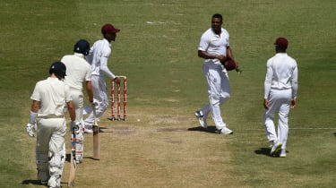 West Indies bowler Shannon Gabriel exchanged words with England captain Joe Root