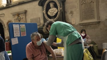 A patient receives his Covid-19 jab at a vaccination centre in Salisbury Cathedral