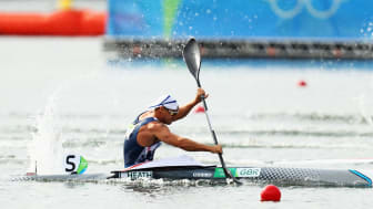 Team GB's Liam Heath wins the gold medal in the Men's Kayak Single 200m Finals at Rio 2016