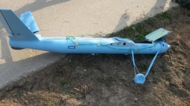 BAENGNYEONG, SOUTH KOREA - MARCH 31:In this handout image provided on April 2, 2014 by the South Korean Defence Ministry, the wreckage of a crashed drone is seen in the Baengnyeong Island, bo
