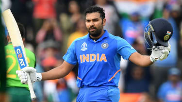 India batsman Rohit Sharma celebrates his century against South Africa in the Cricket World Cup