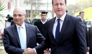 David Cameron and Egyptian Prime Minister Ahmed Shafik
