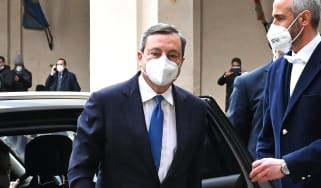 Mario Draghi arrives at the Quirinal Palace to meet with Italian President Sergio Mattarella