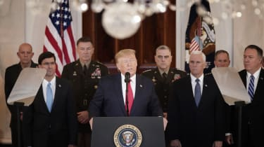 WASHINGTON, DC - JANUARY 08: U.S. President Donald Trump speaks from the White House on January 08, 2020 in Washington, DC. During his remarks, Trump addressed the Iranian missile attacks tha
