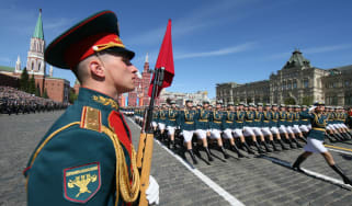 Russian servicewomen march in Red Square during this year's Victory Day military parade in Moscow