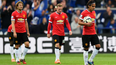 Dejected Manchester United players during the Premier League match between Leicester City and Manchester United