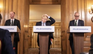 Boris Johnson at the first daily Covid press briefing