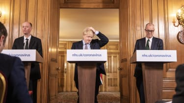 Boris Johnson at the first daily Covid press briefing
