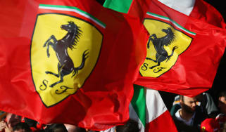 Ferrari flags wave at the 2018 Formula 1 Australian Grand Prix at Albert Park in Melbourne