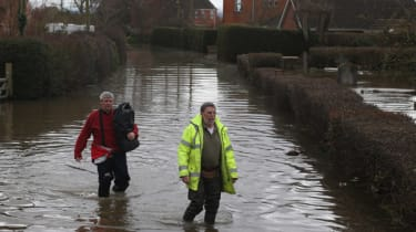 In February this year people walked in flood water in Moorland on the Somerset Levels