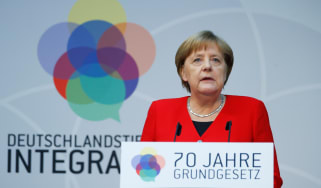 BERLIN, GERMANY - MAY 14 : German Chancellor Angela Merkel delivers a speech during an event marking the 70th anniversary of the German Basic Law (Grundgesetz) in Berlin, Germany on May 14, 2