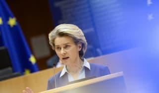 Ursula Von Der Leyen gives a speech about the European Union's vaccine strategy