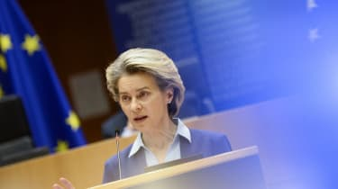 Ursula Von Der Leyen gives a speech about the European Union's vaccine strategy
