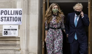 Boris Johnson and Carrie Symonds vote in London