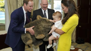 SYDNEY, AUSTRALIA - APRIL 16:In this handout image supplied by Admiralty House, the official Sydney residence of the Governor-General, Prince George of Cambridge, with his parents Prince Will