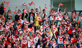 Japan fans celebrate the 'Miracle of Brighton' against South Africa at the 2015 Rugby World Cup