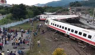 18 people have been killed after a train derailed in Taiwan