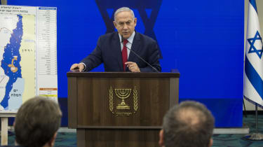 RAMAT GAN, ISRAEL - SEPTEMBER 10:Israeli Prime Minster Benjamin Netanyahu speaks during his announcement on September 10, 2019 in Ramat Gan, Israel. Netanyahu pledges to annex Jordan Valley i