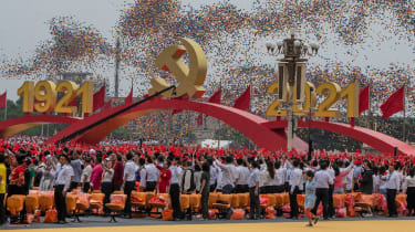 A ceremony marking 100 years of China's Communist Party on July 1, at Tiananmen Square in Beijing