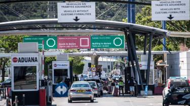 Cars queue to enter Gibraltar