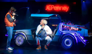 Olly Dobson as Marty McFly and Roger Bart as Doc Brown in Back to the Future the musical
