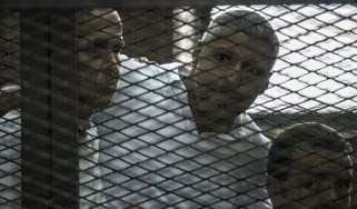 Journalists Peter Greste, Mohamed Fadel Fahmy, and Egyptian Baher Mohamed listen to the court's verdict
