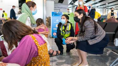 Afghan refugees at Heathrow