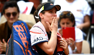 Johanna Konta celebrates her quarter-final win over Sloane Stephens at the French Open