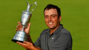 Francesco Molinari celebrates with the Claret Jug after winning The Open at Carnoustie in 2018