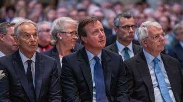 Tony Blair, David Cameron and John Major at a memorial service for ex-Liberal Democrat leader Paddy Ashdown
