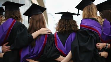 Graduates celebrate on London's Southbank