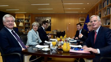Theresa May and David Davis with Jean-Claude Juncker and Michel Barnier in Brussels