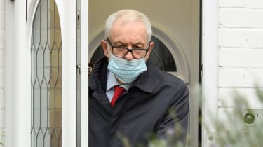 Former Labour Party leader Jeremy Corbyn leaves his home.