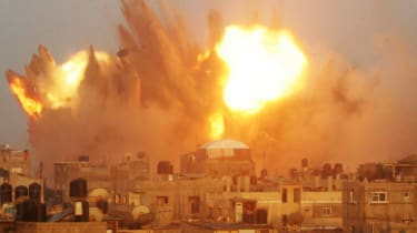 A huge explosion in Gaza following an early morning Israeli airstrike