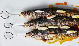 Charcoal sardines in saffron vinegar and almond oil