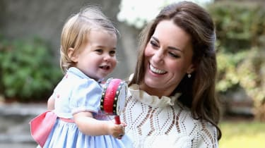 VICTORIA, BC - SEPTEMBER 29:Catherine, Duchess of Cambridge and Princess Charlotte of Cambridge at a children's party for Military families during the Royal Tour of Canada on September 29, 20