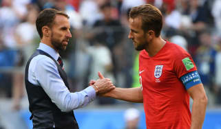 England head coach Gareth Southgate and captain Harry Kane of Tottenham