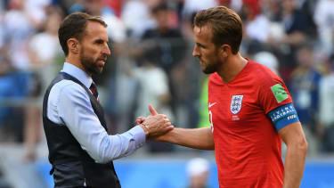Gareth Southgate and Harry Kane at the 2018 Fifa World Cup