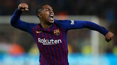 Barcelona forward Malcom celebrates scoring against Real Madrid in the Copa del Rey