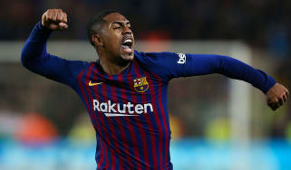 Barcelona forward Malcom celebrates scoring against Real Madrid in the Copa del Rey