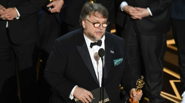Director Guillermo del Toro accepting the Best Picture Oscar for The Shape of Water