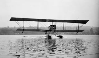 William E. Boeing, company founder, and Conrad Westervelt, a Navy officer, designed and built the B & W, a twin-float sport seaplane, in a boathouse on Seattleís Lake Union. Boeing took the B