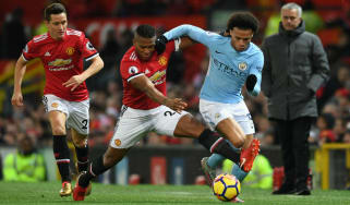 Manchester City winger Leroy Sane in action against Manchester United at Old Trafford in December 2017