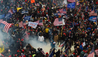 rump supporters clash with police and security forces as they storm the US Capitol.