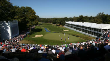 A view of the 18th green during the 2019 BMW PGA Championship at Wentworth
