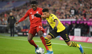 England winger Jadon Sancho in action for Borussia Dortmund against Bayern Munich in the Bundesliga