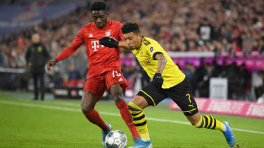England winger Jadon Sancho in action for Borussia Dortmund against Bayern Munich in the Bundesliga