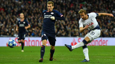 Harry Kane scores the equaliser for Tottenham in the 2-1 win against PSV Eindhoven