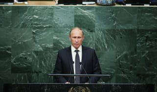 Vladimir Putin addressing the UN General Assembly.
