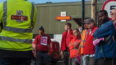 LONDON, ENGLAND - SEPTEMBER 10: Workers at the Hornsey Road sorting office in North London listen to a representative of the Communication Workers Union (CWU) on September 10, 2019 in London,